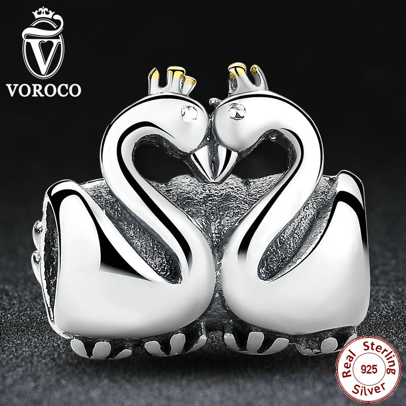 Two Swans Love Crown Jewelry Making Charms Fit Pandora Original Bracelet & Pendant 925 Sterling Silver S063(China (Mainland))