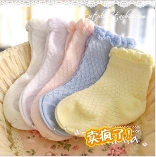 spring and summer 100% cotton thin socks cotton children socks plain laciness socks mesh breathable socks