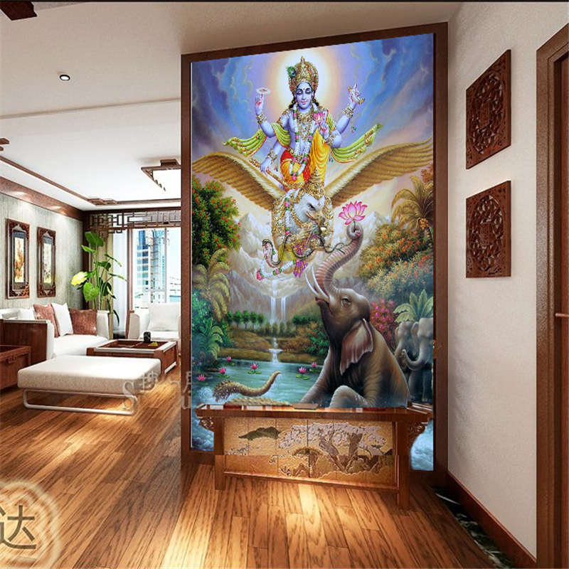 Online buy wholesale yoga wood from china yoga wood for Asian wallpaper mural