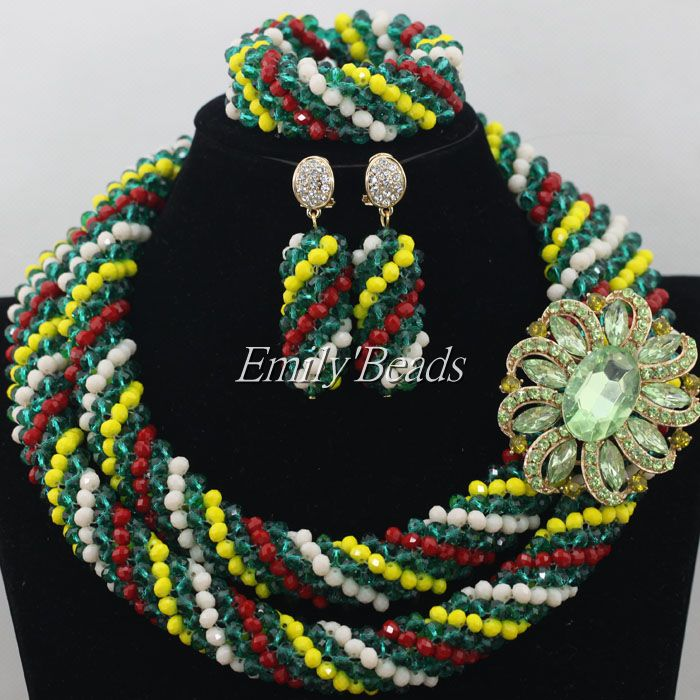 Colorful African Costume Jewelry Set 18K Gold Plated Jewelry Sets For Brides Nigerian Wedding African Beads Necklace Sets AIJ155