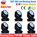 Black Cover 6Pcs Lot 108Pcs 3W RGBW Led Moving Head Wash Light Hot Sell Led Moving