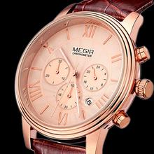 Megir hombres reloj marca 100% cuero genuino de la correa multi función dial relojes militares, relojes de cuarzo rosa de oro, reloj mujer