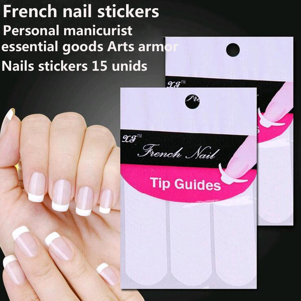 Wholesale Nails stickers 15 unids guide tips French Manicure Nail Art stickers Fringe form guides DIY Hair Styling Beauty tools(China (Mainland))