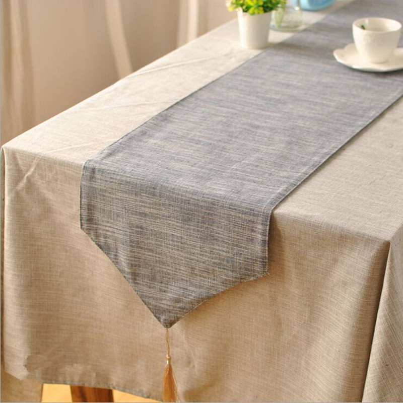 Japanese-style plain solid color cotton table runner blue gray wallpaper modern minimalist table runner(China (Mainland))