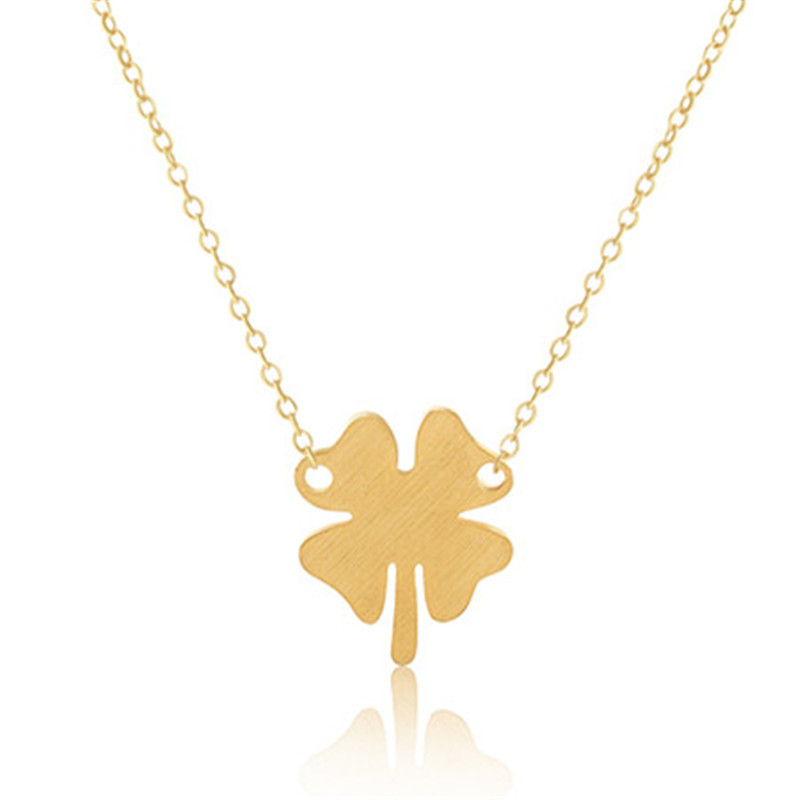 Elegant Tiny Four Leaf Clover Necklaces Pendant 18 k Gold Plated Stainless Steel Maxi Necklace Women Fashion Jewelry Accessories(China (Mainland))