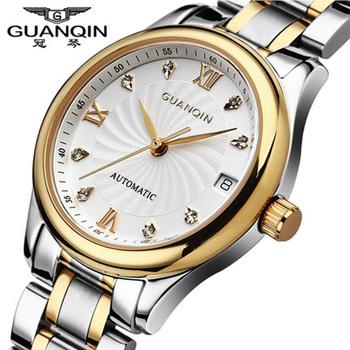 Роскошные Diamond Часы для женщин оригинальный бренд GUANQIN полный стали водонепроницаемый сапфир дизайнерские часы кварцевые платье часы Lady