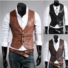 Fashion wild 2015 Autumn new fund Concise joker Cultivate one's morality men's PU leather vest(China (Mainland))