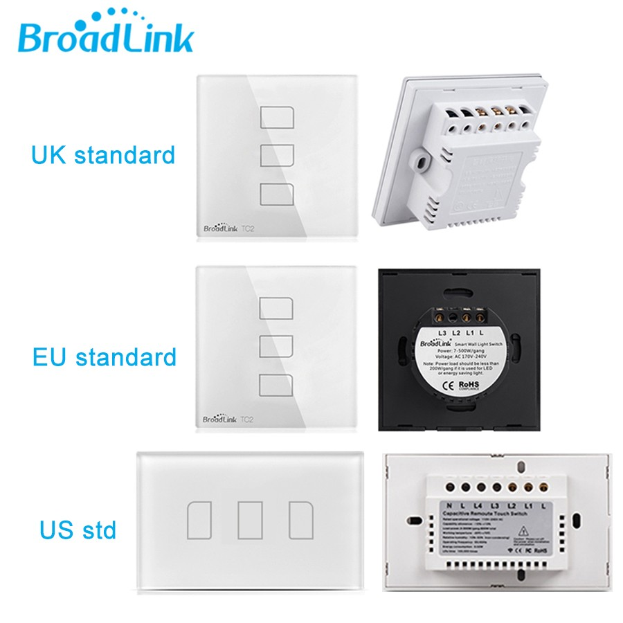 Broadlink TC2 UK EU US Switch 1Gang 2Gang 3Gang Touch Switch Smart Home Automation Wireless Wifi Control Light Wall Switch RF433 2 (1)