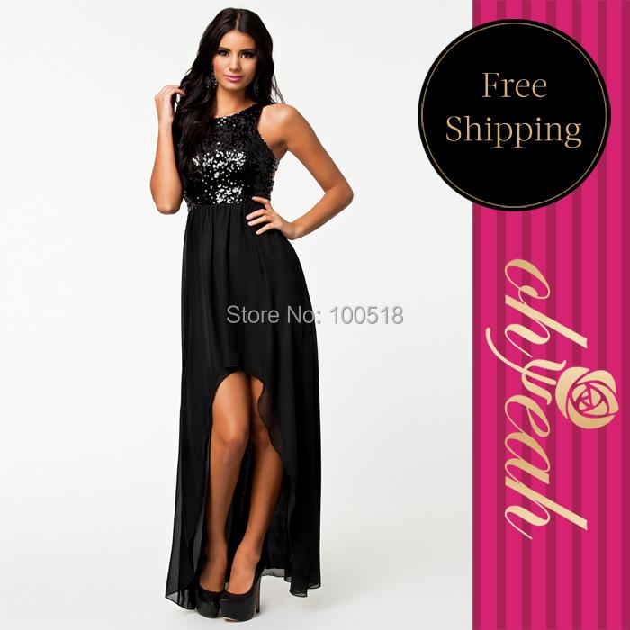 R7874 Most elegant black slimming summer dresses sleeveless floor length sexy dress club wear plus size sequin maxi dress 2015(China (Mainland))
