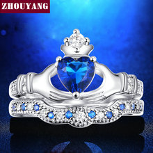 Holding the Sapphire love Heart  AAA+ CZ Diamond Crown Wedding Ring Sets White gold Silver Plated Blue Crystal 2016 new  ZYR616(China (Mainland))