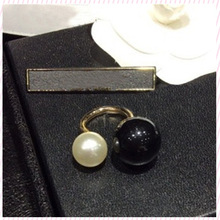 2015 New Fashion Jewelry Adjustable double simulated pearl ring For women One Big One Small