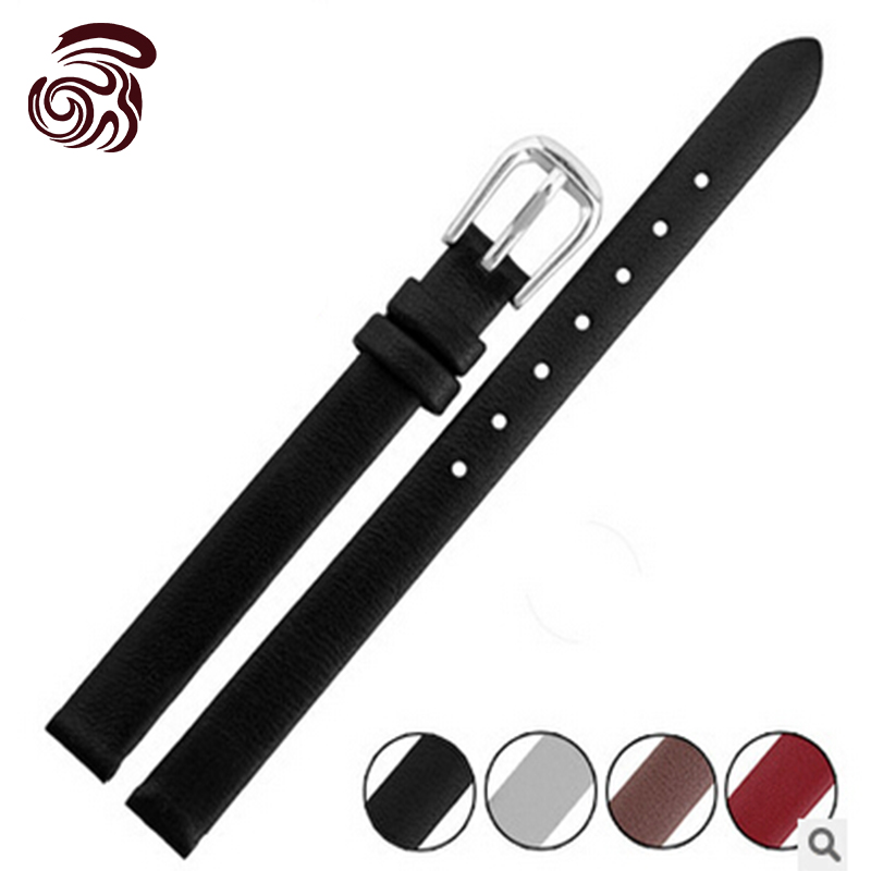 6mm 8mm 10mm Black New Ladies Design Durable Genuine Leather Deployant Bracelet Strap Watch Band(China (Mainland))