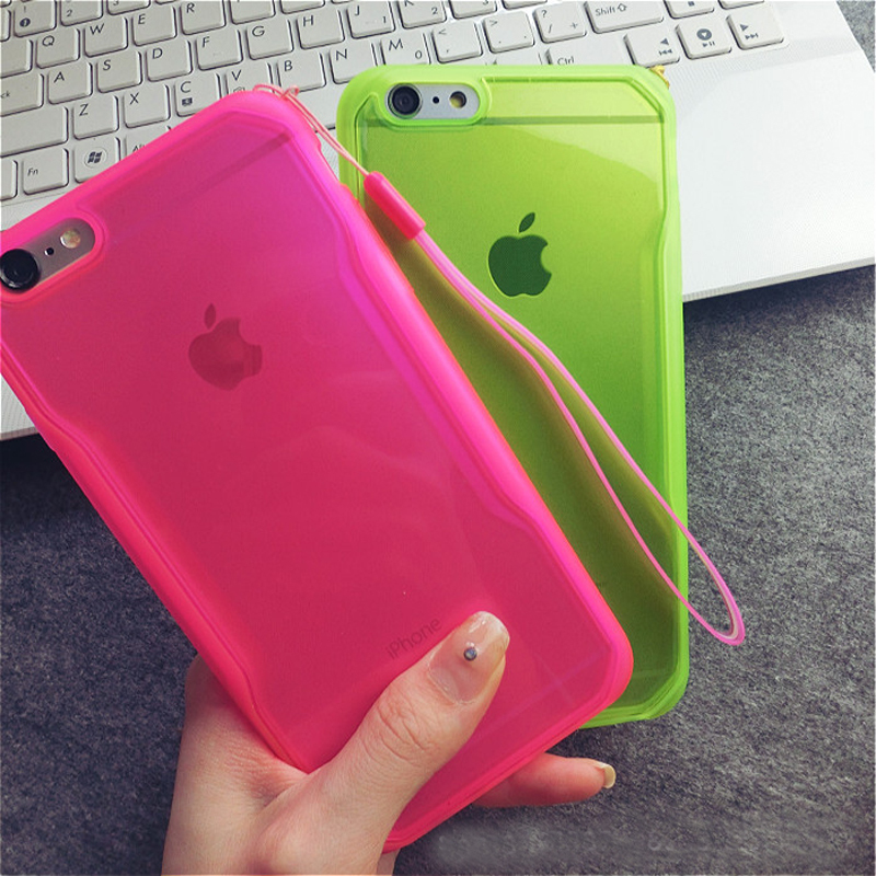 """High quality Soft TPU Drop resistance Full surround Design cell phone case for iphone 6 4.7"""" 6 5.5"""" Plus back shell with chain(China (Mainland))"""