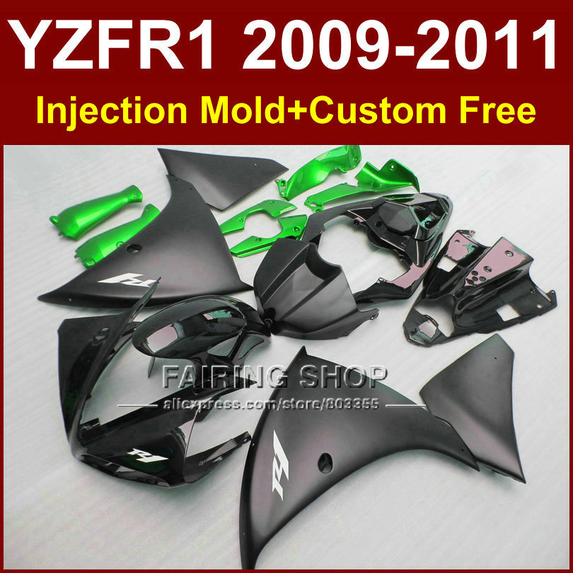 Motorcycle parts YAMAHA fairings YZF-R1 09 10 11 12 Flat black bodywork YZF1000 +7Gifts Injection YZF R1 2009 2010 2011 R1