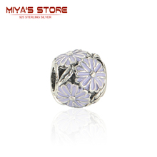 Sterling Silver Jewelry Daisy Tibetan Silver Charms With Purple Enamel Famous Brand Bracelet Bangle Women With