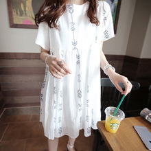 2016 Korean women cotton short sleeved summer Maternity Dress XL summer coat loose Skirt Size(China (Mainland))