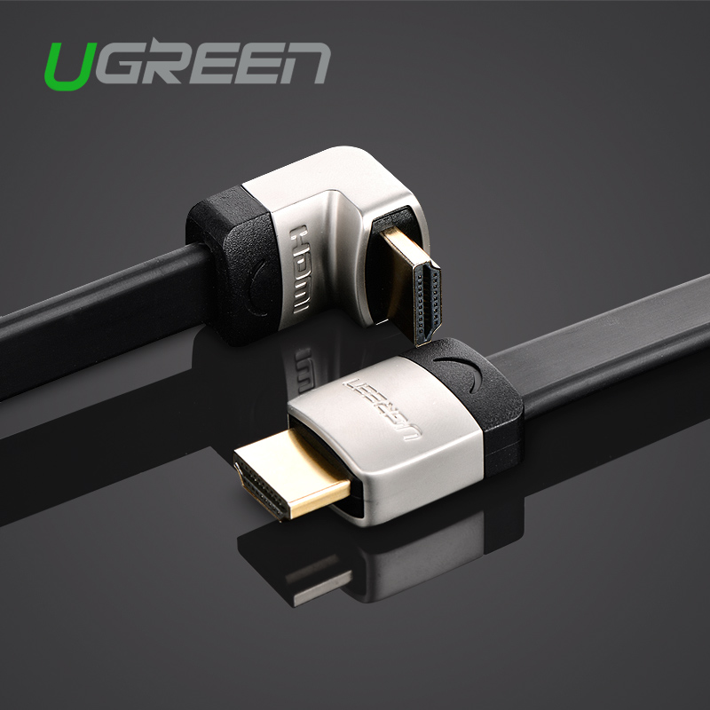 Ugreen metal HDMI flat cable Angle 90 degree Male to Male 1M 1.5M 2M 3M HDMI 1.4 4K 1080P 3D for PS3 Xbox projector Apple TV(China (Mainland))