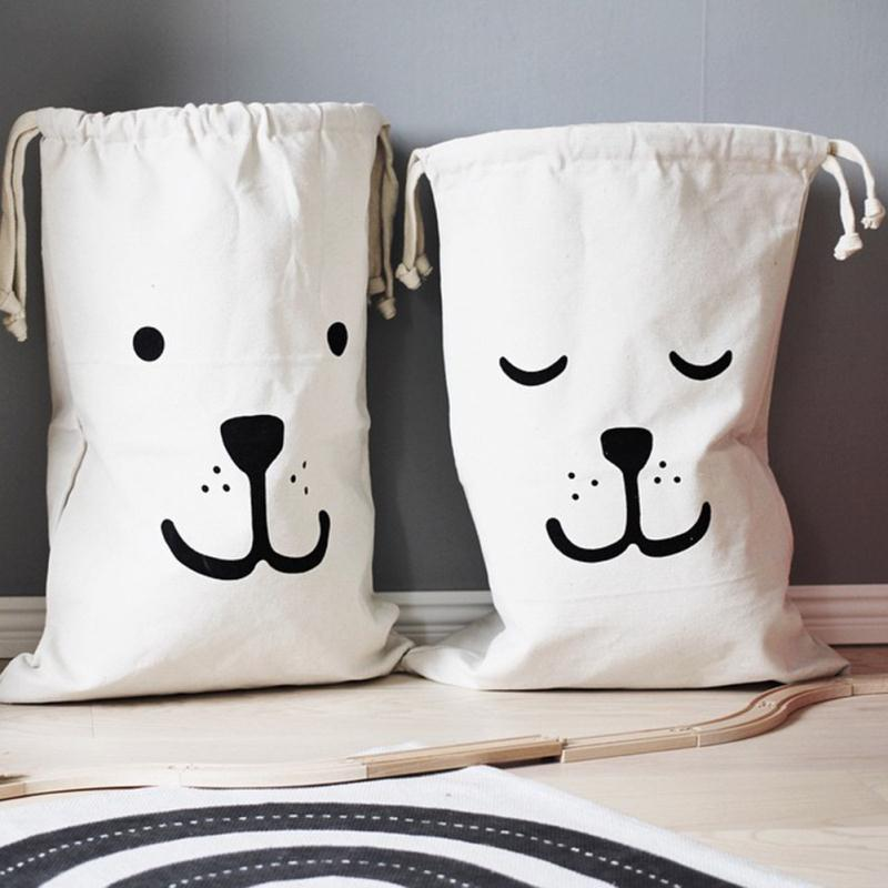 New White Large Baby Toys Storage Canvas Cartoon Animals Printed Bags Laundry Hanging Drawstring Organizer For Home Supplies(China (Mainland))