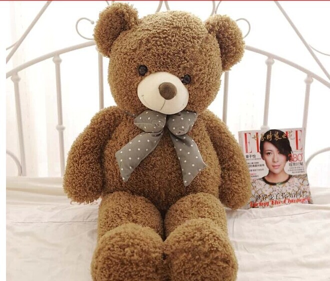 lovely army green teddy bear doll candy colours teddy bear with spots bow plush toy doll birthday gift about 100cm(China (Mainland))