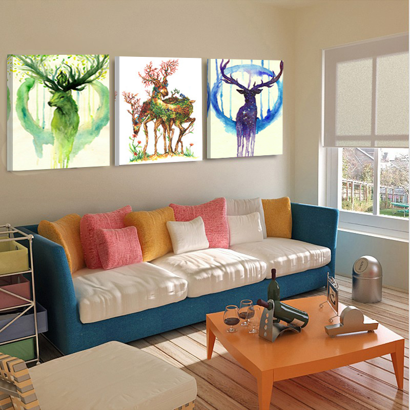 Home Decor Canvas Painting Abstract Art Modern Wall Pictures Animal Deer Elk Christmas Decorative Picture Wall Art No Frame HY72(China (Mainland))