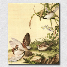 Large Chines canvas art cheap birds in trees wall picture home interior decoration(China (Mainland))