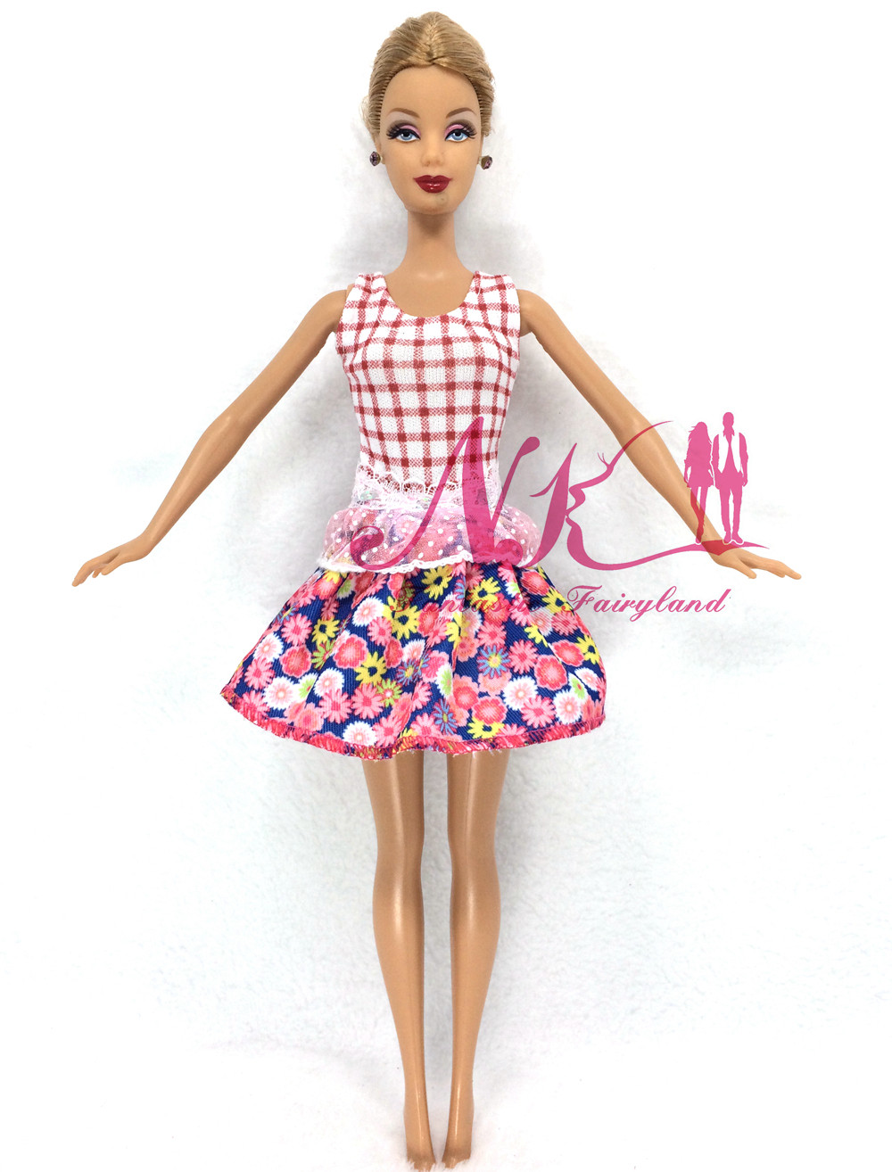 NK 2016 Newest Doll Dress Beautiful Handmade Party ClothesTop Fashion Dress For Barbie Noble Doll Best Child Girls'Gift 035A