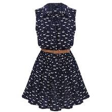 New Summer women shirts dress Cat footprints pattern Show thin Shirt dress with Belt Navy Blue(China (Mainland))