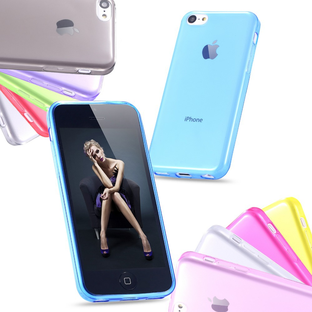 5C Super Soft Transparent Case For Apple iphone5c Ultra Slim TPU Silicone Gel Cell Phone Back Cover(China (Mainland))