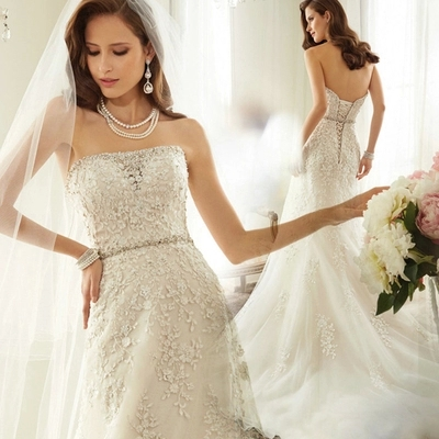 Diamond Strap Lace Mermaid Wedding Dress 2015 New Bride