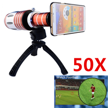 Buy Telephoto Lens 50X Super Long Optical Zoom Telescope Lens+Tripod Stand + Case iPhone 4/5/6/6 plus Samsung Galaxy CL-48 for $100.69 in AliExpress store