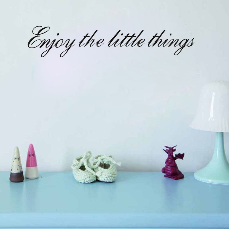 : Enjoy The Little Things Vinyl Wall Decal Quotes Home Decor Saying Living Room Wall Stickers Bedroo(China (Mainland))