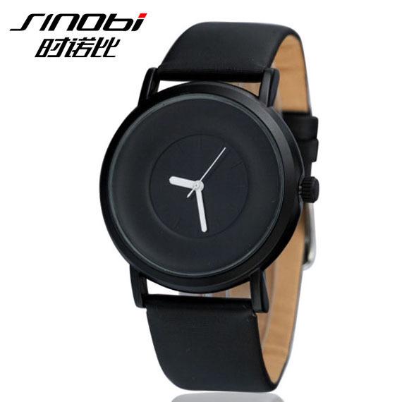 Relojes Mujer 2015 Famous Brand Sinobi Stylish Simple Elegant Quartz Watches Black Ultra Thin Watch For Men Orologio Uomo Cuoio(China (Mainland))