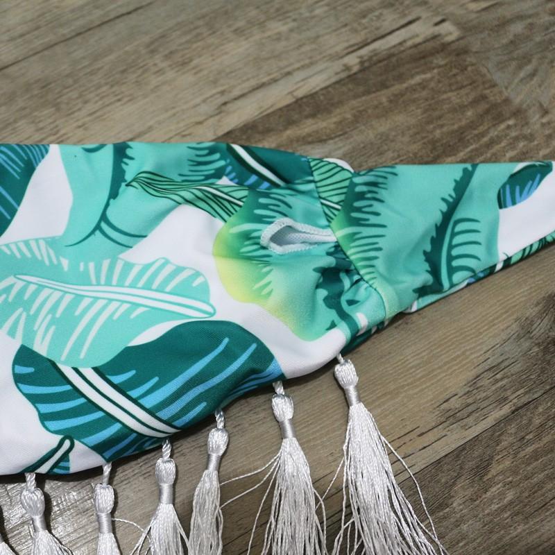 2016 Mulheres Sexy Empurrar Para Cima do Biquíni Alta Neck Tassel Fringe Swimsuit Palm Leaf Impresso Tanga Swimwear Feminino Maiô Beachwear