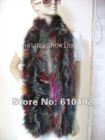 wholesale/retail/Wonderful real  FOX fur knitted cape/scarf/ shawl/(172cm*17cm)multicolour2#Одежда и ак�е��уары<br><br><br>Aliexpress