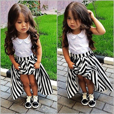2016 Children Baby Girls Party Dress Stripe Gown Formal Dresses Sundress Clothes 2-7Y(China (Mainland))