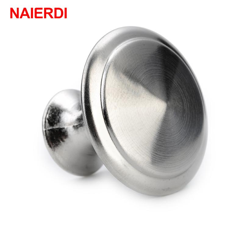 NAIERDI Diameter 24/28mm Zinc Satin Nickel Cabinet Pull Cupboard Drawer Knobs Wardrobe Handle With Screw Furniture Hardware(China (Mainland))