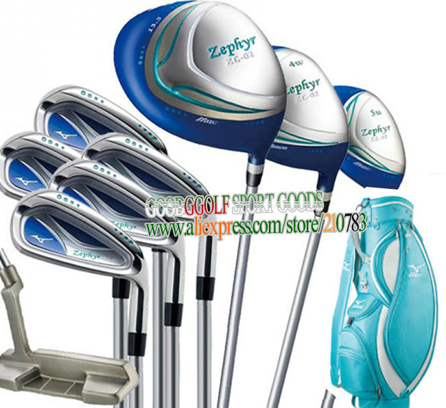 Zephyr women Golf clubs Driver+4w 5u wood+irons+Putter+bag complete set of club with graphite Golf shaft headcover Free shipping(China (Mainland))