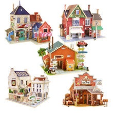 2015 New Arrival DIY 3D Jigsaw Puzzle Wooden Toys Kids Educational Toys Children's Educational Wooden Cartoon Castle Chalets(China (Mainland))