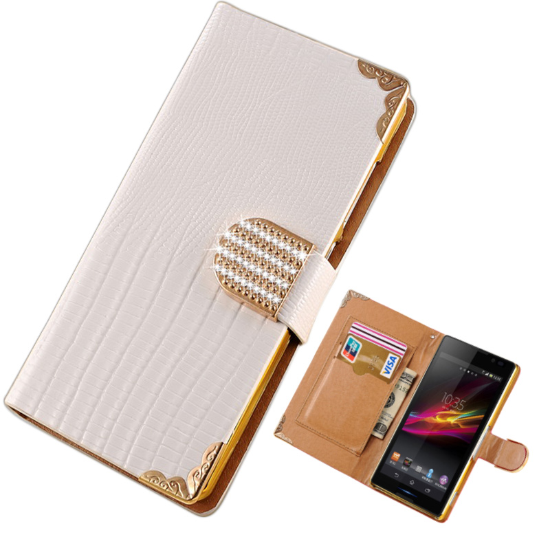 Luxury Shining Crystal Bling PU Leather Case for SONY Xperia C S39H C2305 Flip Cover with Card Slot and Bill Site(China (Mainland))