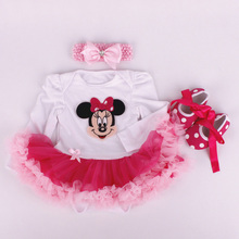 Newborn Cotton Baby Romper Casual Long Sleeve Baby Clothing Headbands Dress Shoes 3 pieces a set