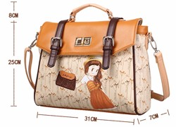 Lovely Cartoon Fashion Handbag Twist Lock Belt Buckle Flap Bag Pretty Girl Designer Sweet Style Brown Red Women PU Shoulder Bag