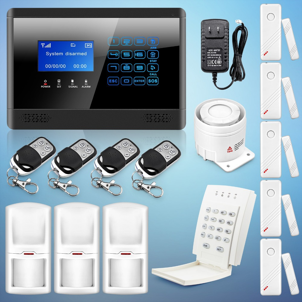 2015 Newest Wireless& Wired GSM SMS Home House Security Inturder Alarm System sms autodial LCD display Touch Keypad 433 MHz P587(China (Mainland))
