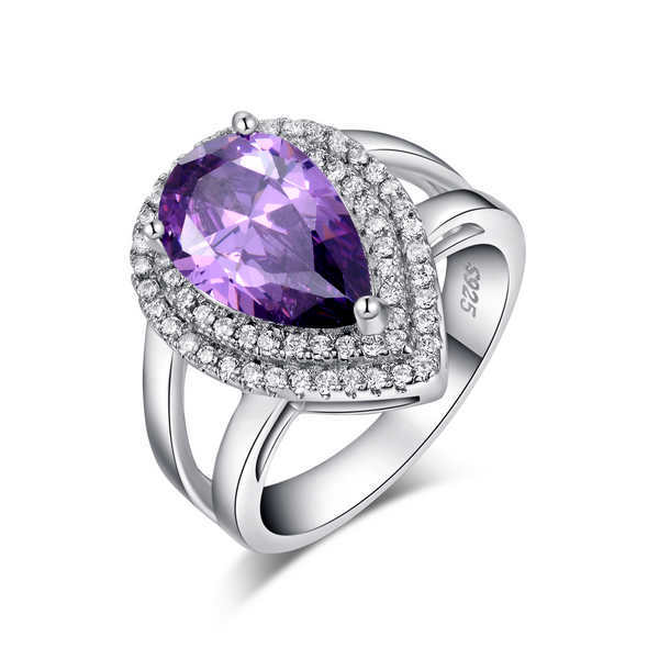 Big Luxury Water Drop 6 ct Amethyst Zircon Ring 3 Prong Setting with Mirco CZ Stone Around 925 Sterling Silver Ring OR36(China (Mainland))
