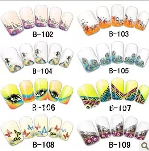 Best Selling!!New Design French Tip Nail Stickers Water Transfer Decals 10 sheets/lot+Free Shipping