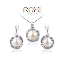 ROXI Gift Fashion Crytal  zirconSet Gift Girlfriend 100% Hand made Fashion Jewelry Earrings+Necklace(China (Mainland))