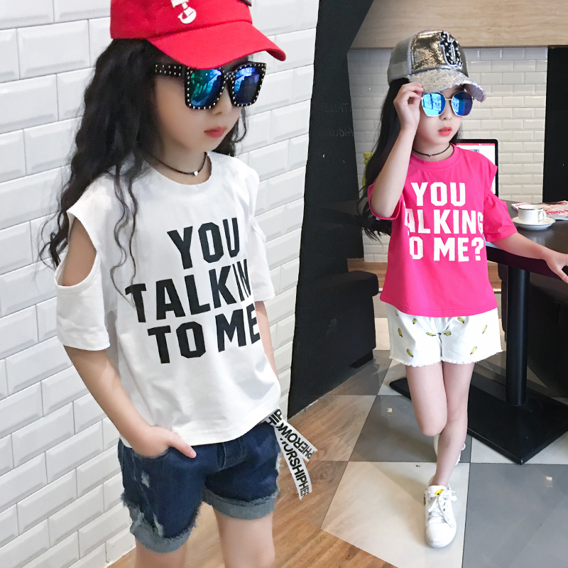 2017 Kids Clothes Baby Girls Birthday Outfits Cotton Off Shoulder T shirts Tops Children Clothing Rock White Tees 10 11 12 14 T(China (Mainland))