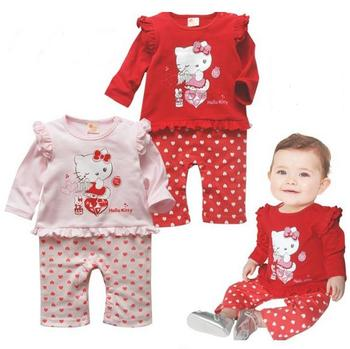 2016 causal baby girls rompers cartoon cotton hello kitty print jumpsuits newborn Infants todder one-piece clothing