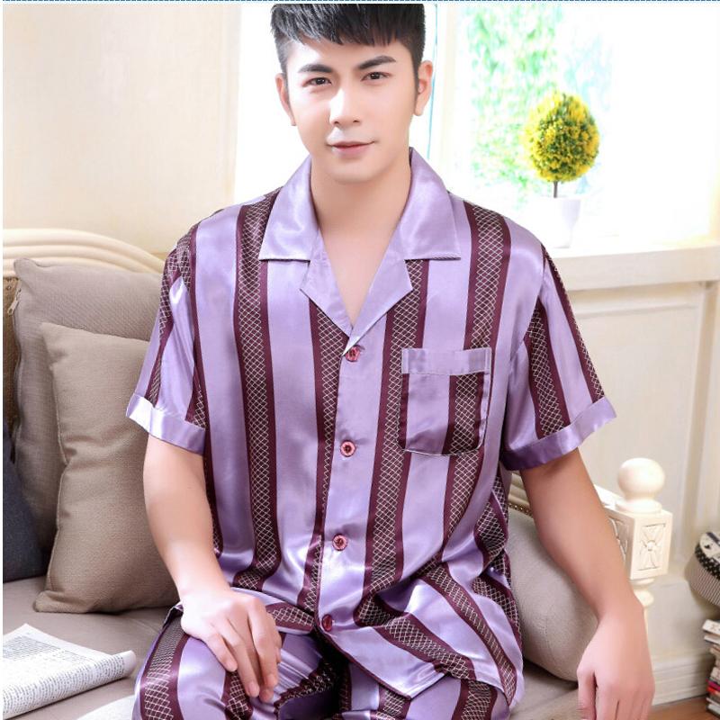 Men's Sleepwear Nightwear Silk Satin Pyjamas Men Lounge Wear Short-Sleeve Turn-Down Collar Male Pajamas Sets Nighty - men left women right store