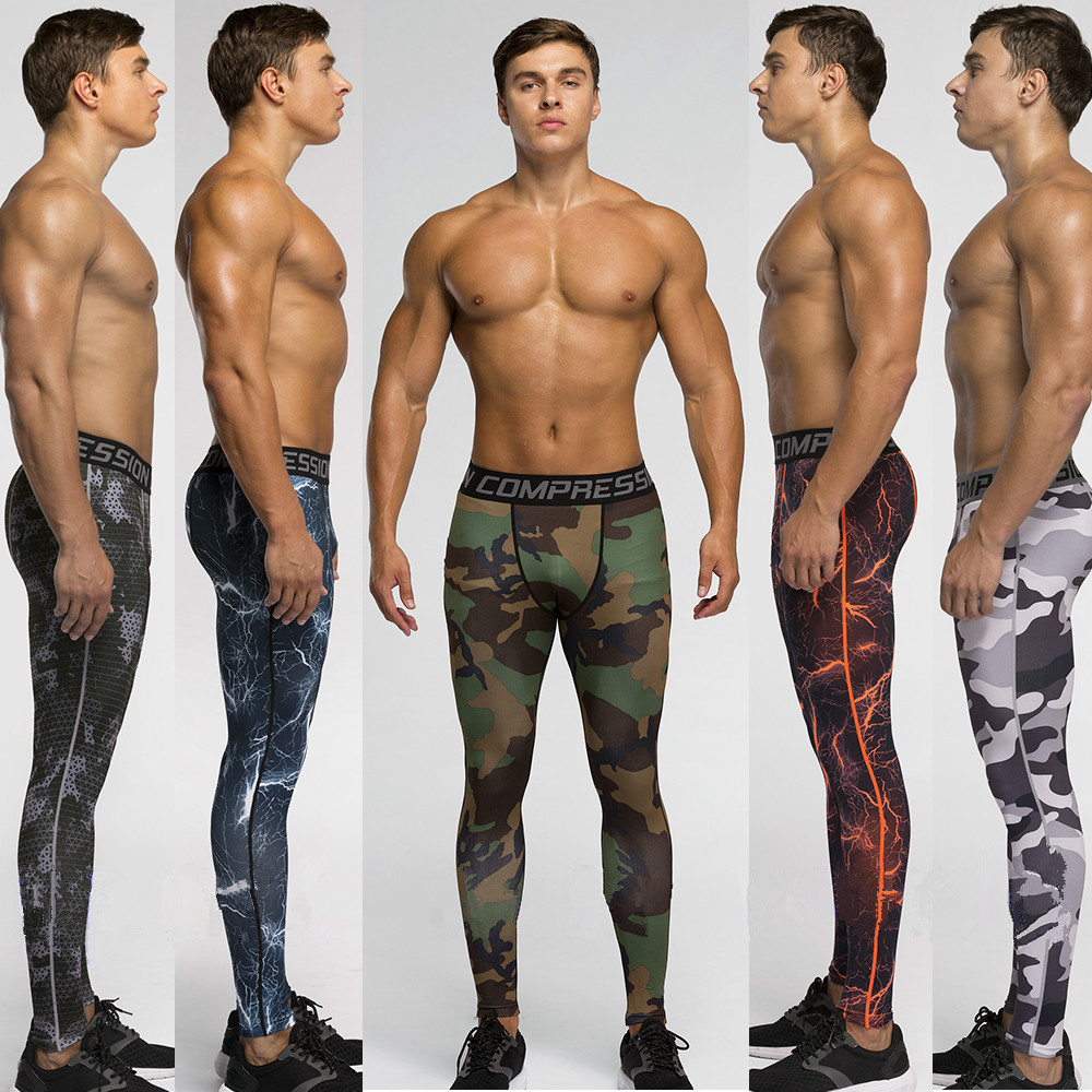 Running camo Base Layer fitness jogging compression tights long pants sport training leggings mens gym skinny camouflage pants