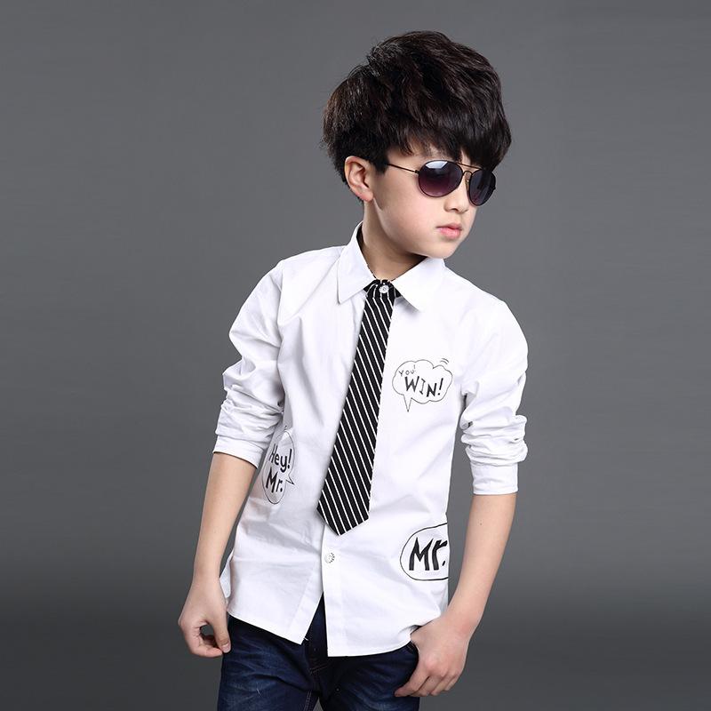 2015 Shirt For Boy With Tie Kids Clothes White Blouse Children Camisa Camiseta School Uniform